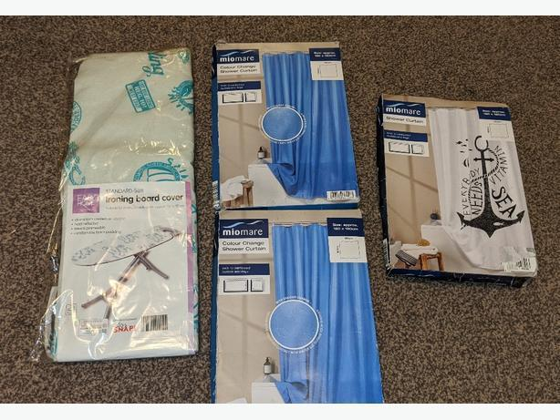 Miomare shower curtain & ironing board cover