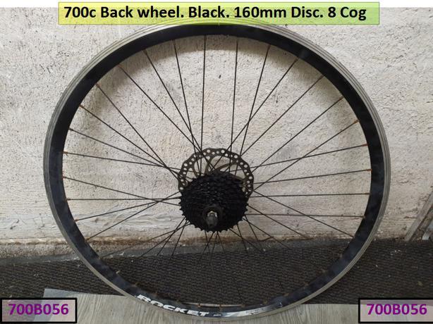 700c back wheel. Black. 160mm disc. 8 cog.