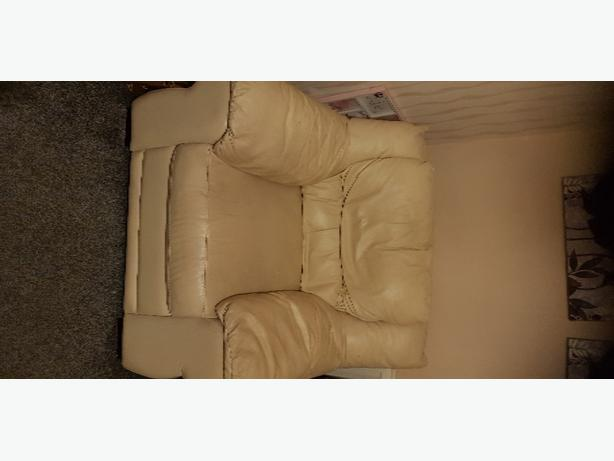 FREE: 2 off white leather armchairs good condition
