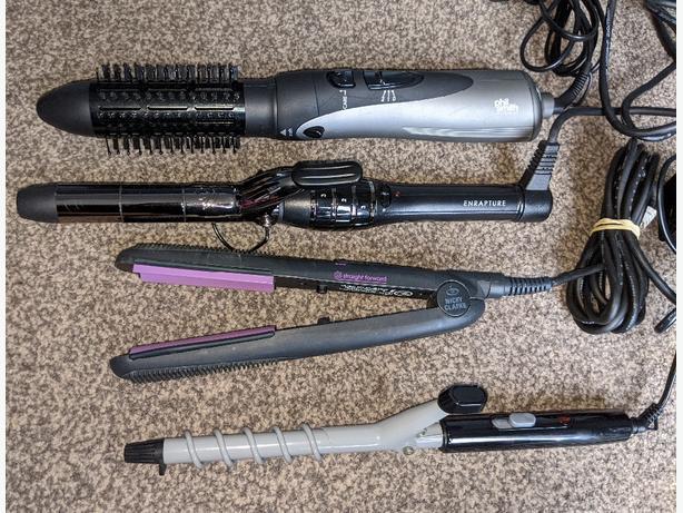 various hair curling wand, straightener, hotair brush