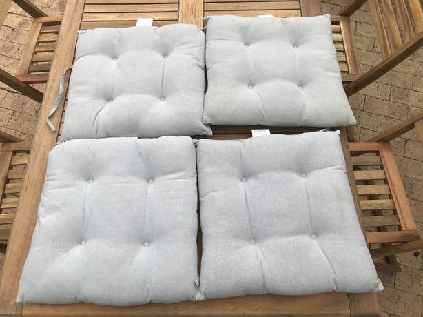 Set of 4 light grey chair cushions seat pads