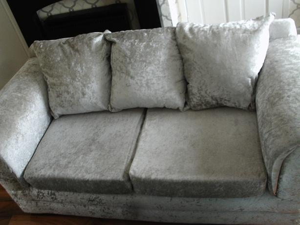 2 settee sofa 2 arm chairs in sliver crushed velvet
