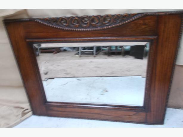 Dark Wooden Framed Bevelled Edge Mirror