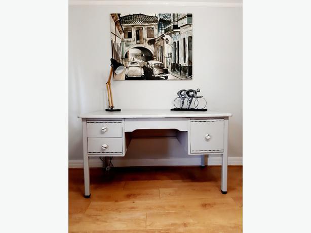 Grey Hand Painted Solid Wood Vintage Desk