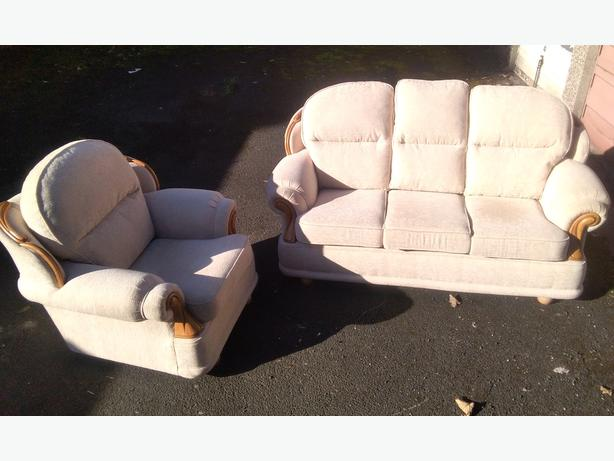 High back biege sofa +armchair.as new delivery available
