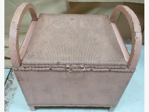 Upcycle Rattan Storage Seat Baby Pink