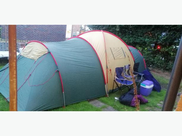 8 man tent - plus chairs - airbed - sleeping bag - cooler box -