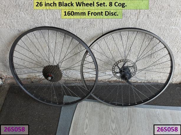 26 inch Black Wheel Set. Front Disc. 8 cog.