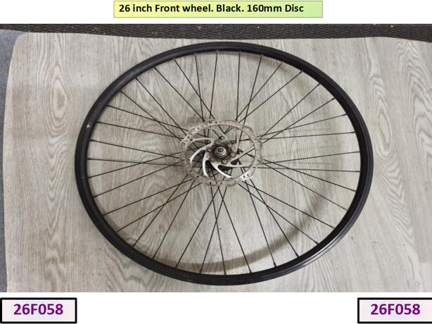 26 inch Black Front Wheel with Disc.