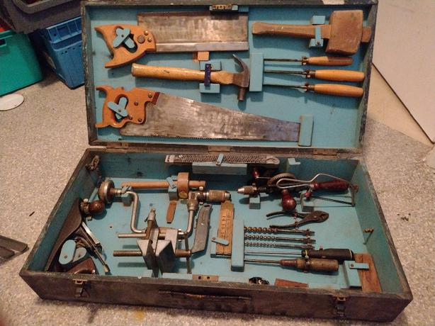 1950s wood work tools and box