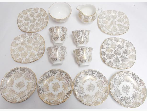 Vintage Royal Vale Bone China Plates, Cups White & Gold Filigree