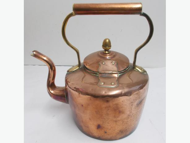 Vintage Large Copper and Brass Hinged Kettle