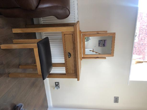 Excellent condition oak dressing table with stool. £50