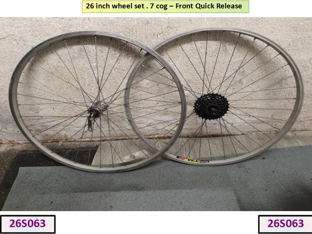 26 inch Wheel Set. 7 cog. [Front QR]