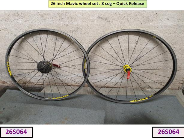 26 inch Mavic Wheel Set. 8 cog.