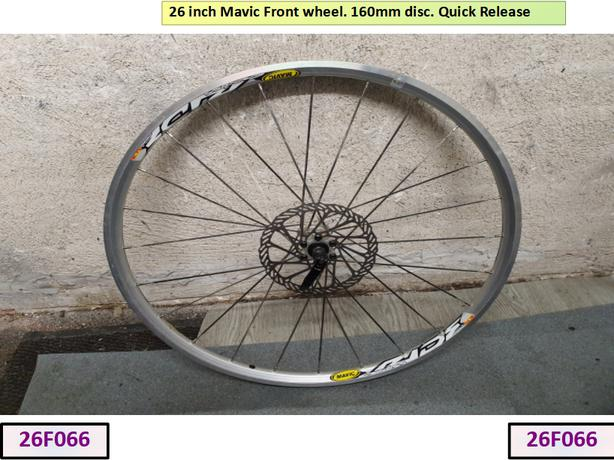 26 inch Mavic Front Wheel. 160mm Disc.