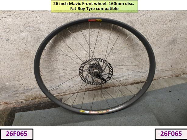 26 inch Mavic Front Wheel [Extra Wide]. 160mm Disc.