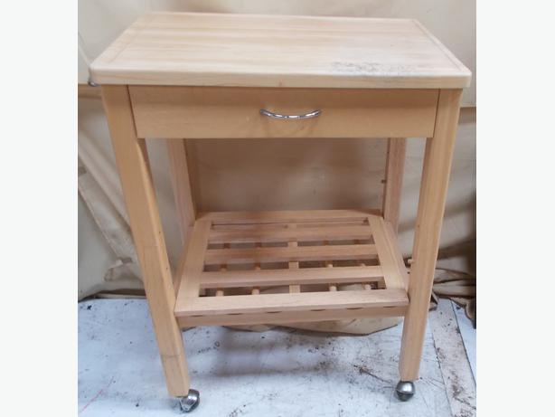 Wooden Work Table With Casters