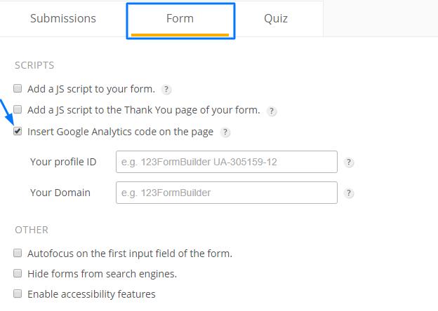 Google Analytics form tracking