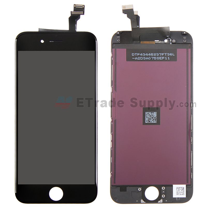 For Apple iPhone 6 LCD Screen and Digitizer Assembly with Frame Replacement (TM) - Black - Grade R