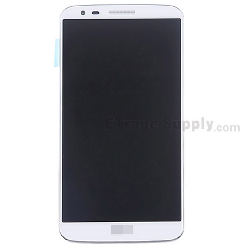 For LG G2 LS980 LCD Screen and Digitizer Assembly with Front Housing and Battery Replacement - White - With Logo - Grade S+