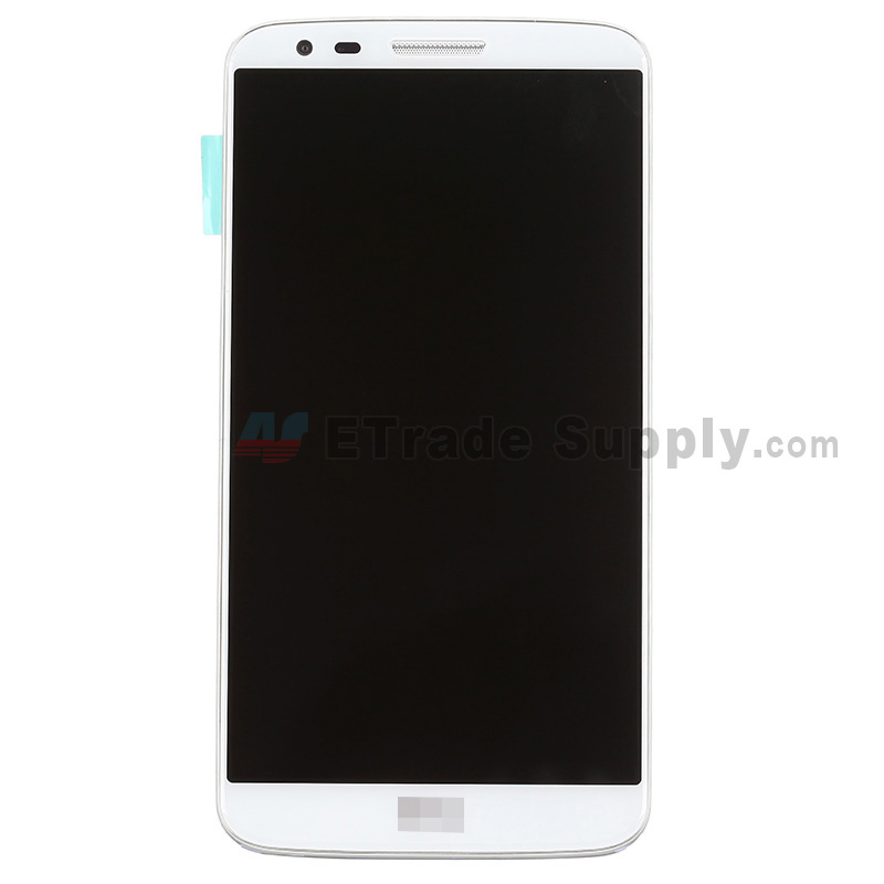 For LG G2 D800 LCD Screen and Digitizer Assembly with Front Housing and Battery Replacement - White - With Logo - Grade S+
