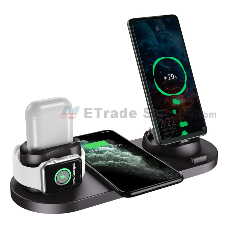 For 6 in 1 multi-function wireless Charging dock Stand for Apple Watch/AirPods/iPhone/Android phone - Grade S+