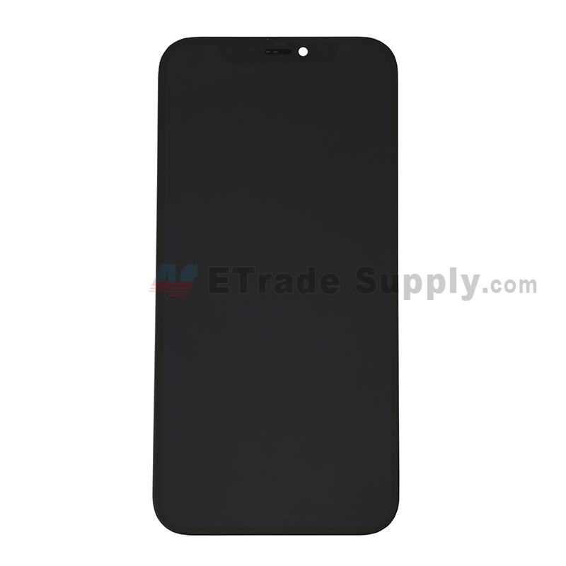 For Apple iPhone 12/12 Pro LCD Screen and Digitizer Assembly with Frame Replacement - Black - Grade S+