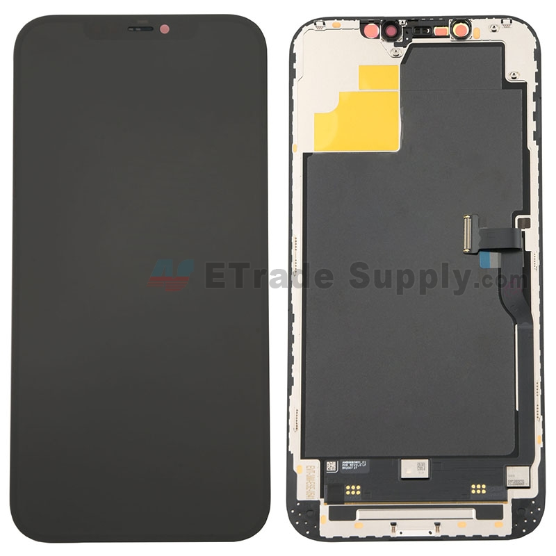 For Apple iPhone 12 Pro Max LCD Screen and Digitizer Assembly with Frame Replacement - Black - Grade S+
