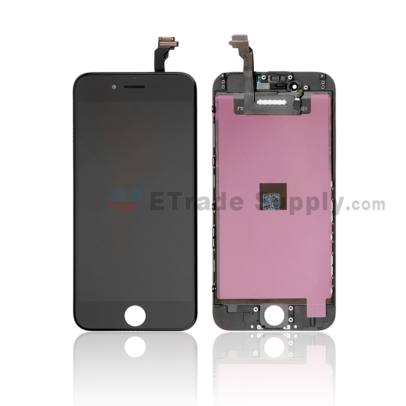 For Apple iPhone 6 LCD Screen and Digitizer Assembly with Frame Replacement - Black - Grade S+