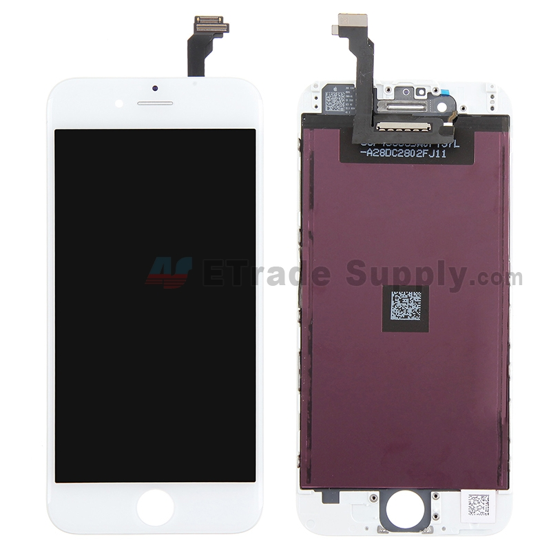 For Apple iPhone 6 LCD Screen and Digitizer Assembly with Frame Replacement (LT) - White - Grade R