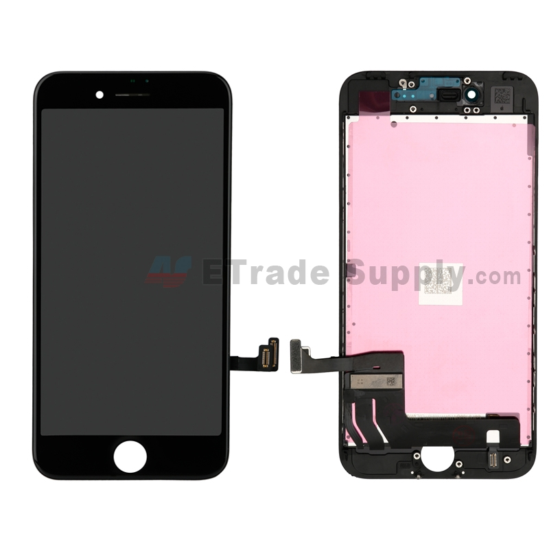 For Apple iPhone 7 LCD Screen and Digitizer Assembly with Frame Replacement - Black - Grade S+