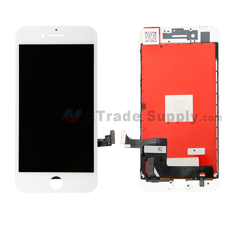 For Apple iPhone 8 LCD Screen and Digitizer Assembly with Frame Replacement - White - Grade R