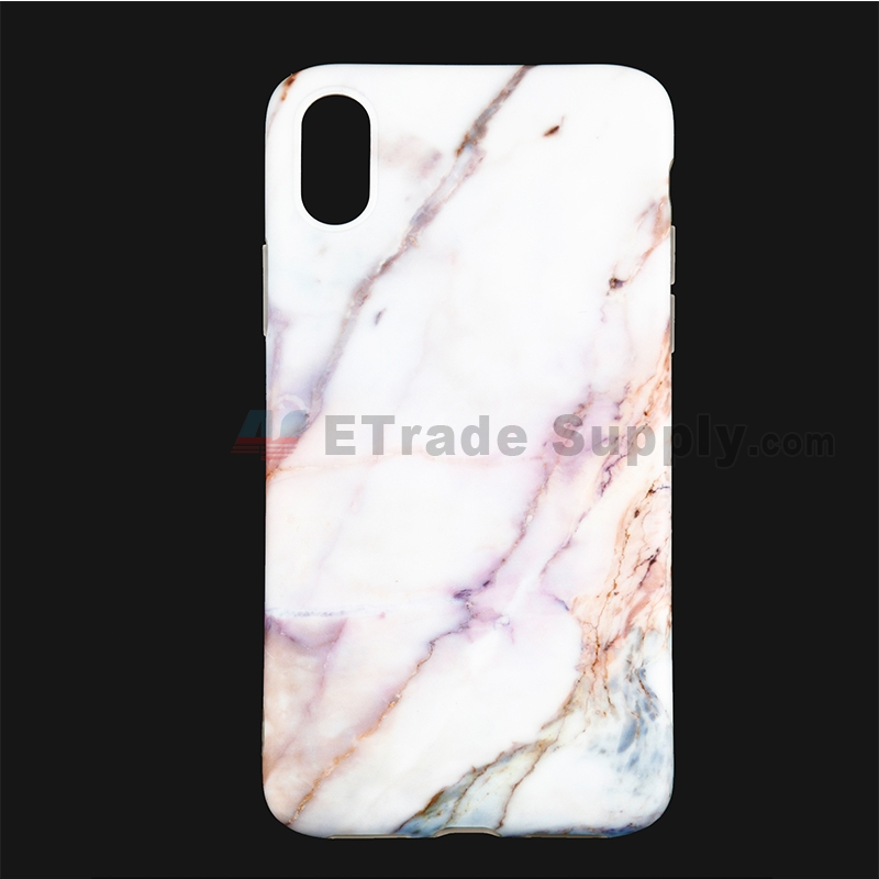 For Apple iPhone X Protective Case Replacement (Marble Purple) - Grade R