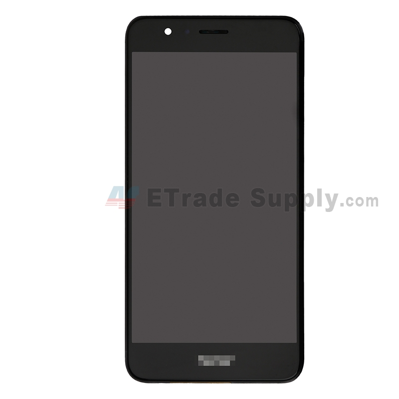 For Huawei Honor 8 LCD Screen and Digitizer Assembly with Front Housing Replacement - Black - With Logo - Grade S+