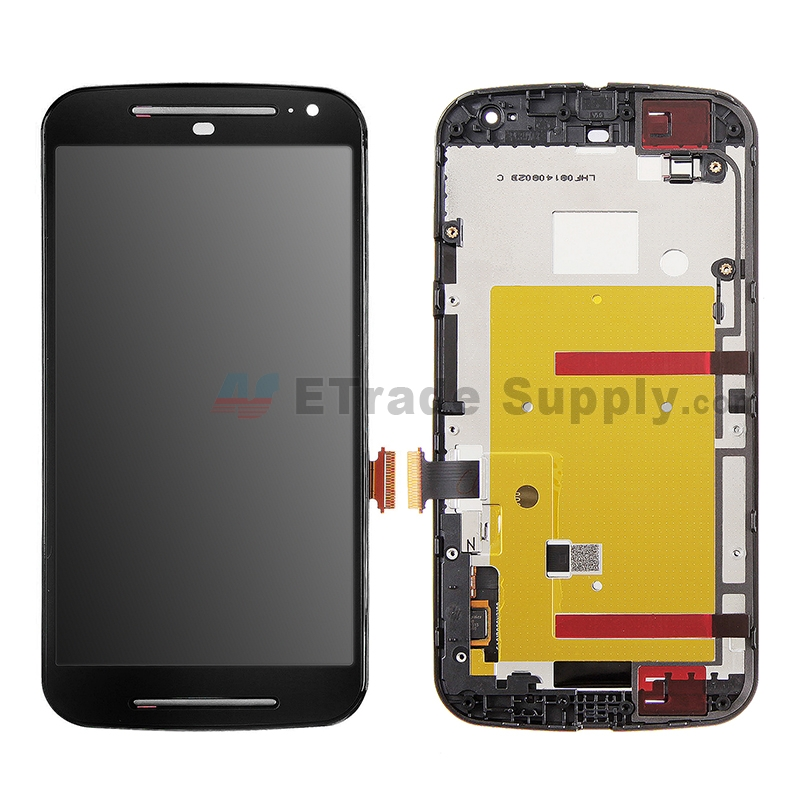 For Motorola Moto G2 LCD Screen and Digitizer Assembly with Front Housing Replacement - Black - Without Logo - Grade S
