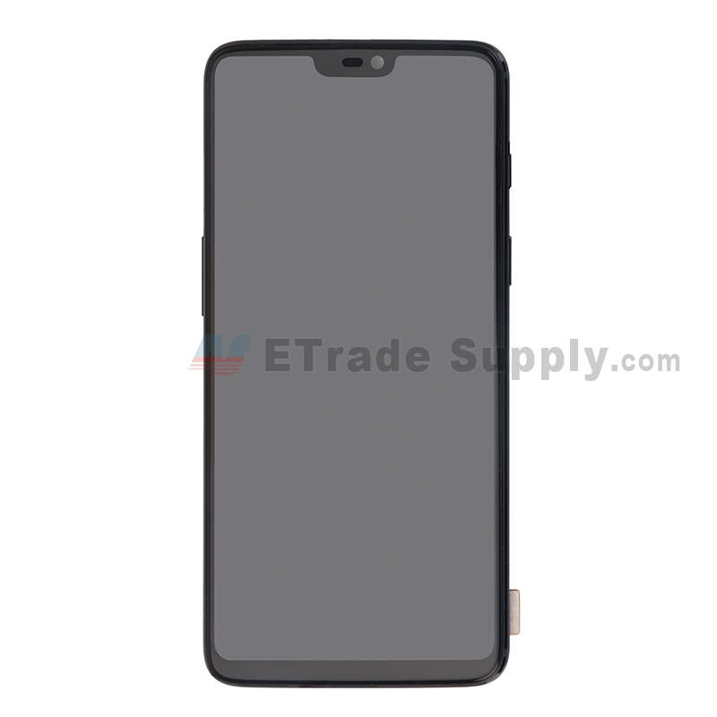 For OnePlus 6 LCD Screen and Digitizer Assembly with Front Housing Replacement - Jet Black - Without Logo - Grade S+