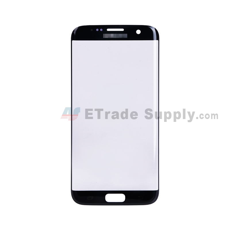 For Samsung Galaxy S7 Edge G935/G935F/G935A/G935V/G935P/G935T/G935R4/G935W8 Glass Lens Replacement - Black - With Logo - Grade S+