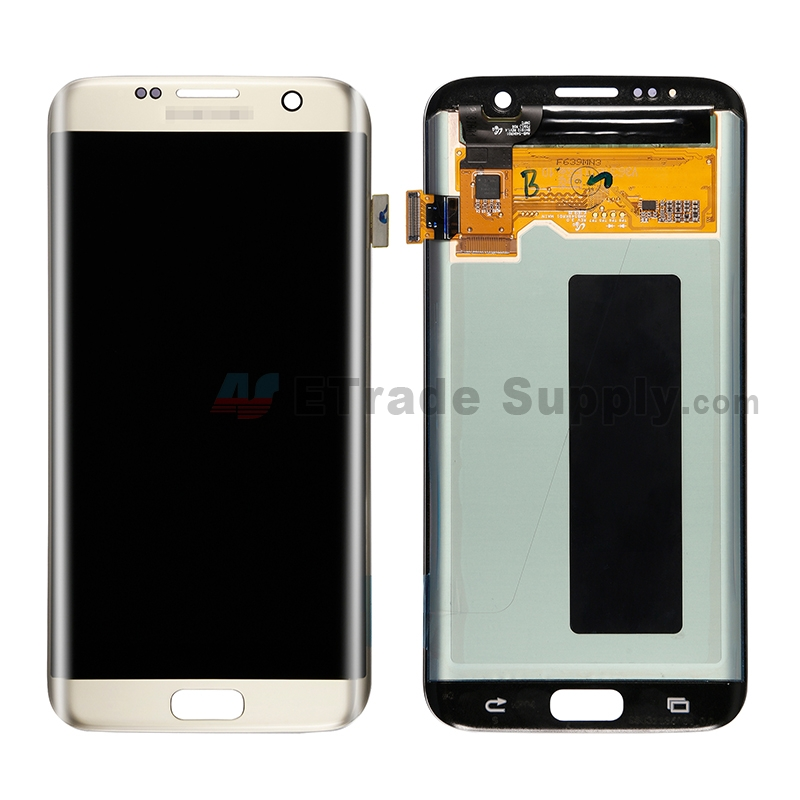 For Samsung Galaxy S7 Edge SM-G935/G935F/G935A/G935V/G935P/G935T/G935R4/G935W8 LCD and Digitizer Assembly Replacement - Gold - With Logo - Grade S+