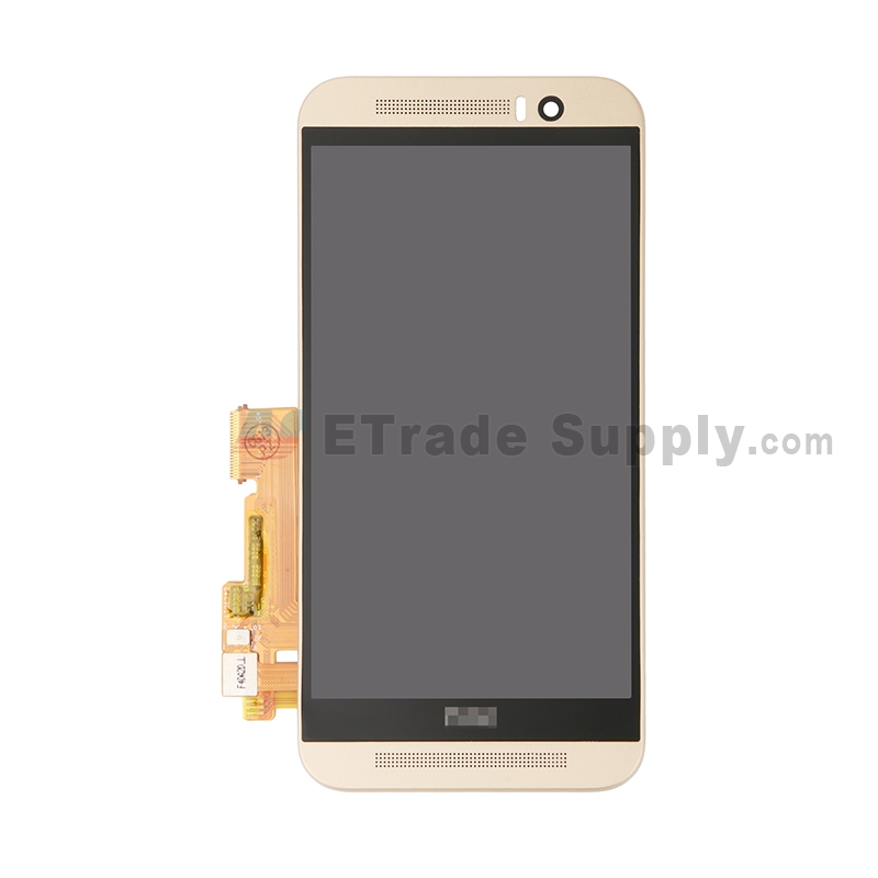 For HTC One M9 LCD Screen and Digitizer Assembly with Front Housing  Replacement - Gold - With Logo - Grade S+