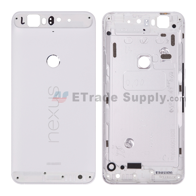 For Huawei Nexus 6P Rear Housing without Top and Bottom Cover Replacement - White - With Logo - Grade S+