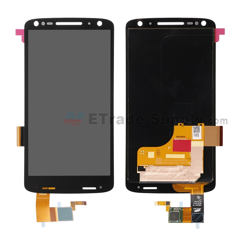 For Motorola Droid Turbo 2 XT1585 LCD Screen and Digitizer Assembly Replacement - Black - Without Any Logo - Grade S+