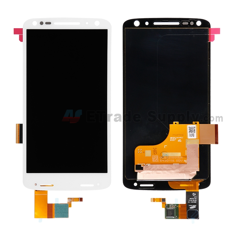 For Motorola Droid Turbo 2 XT1585 LCD Screen and Digitizer Assembly Replacement - White - Without Any Logo - Grade S+