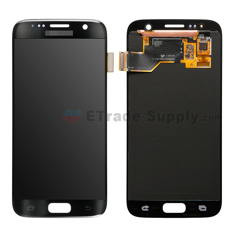 For Samsung Galaxy S7 SM-G930/G930F/G930A/G930V/G930P/G930T/G930R4/G930W8 LCD Screen and Digitizer Assembly Replacement - Black - With Logo - Grade S+