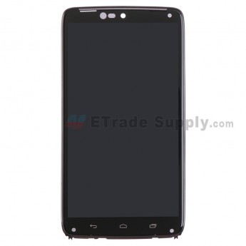 For Motorola Droid Turbo XT1254 LCD Screen and Digitizer Assembly with Front Housing Replacement - Black - Grade S