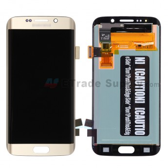 For Samsung Galaxy S6 Edge Samsung-G925V/G925P/G925R4/G925T/G925W8 LCD Assembly Replacement - Gold - With Logo - Grade S