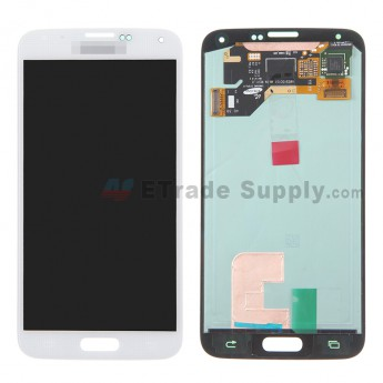 For Samsung Galaxy S5 SM-G900/G900A/G900V/G900P/G900R4/G900T/G900F LCD Screen and Digitizer Assembly Replacement - White - With Logo - Grade S