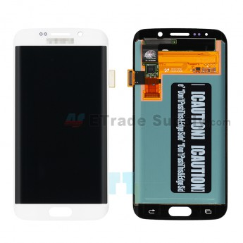 For Samsung Galaxy S6 Edge SM-G925V/G925P/G925R4/G925T/G925W8/G925I/G925F/G925A LCD Assembly Replacement - White - With Logo - Grade A