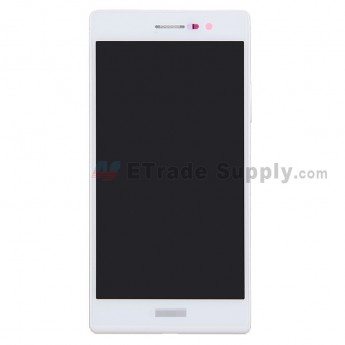 For Huawei Ascend P7 LCD Screen and Digitizer Assembly with Frame Replacement - White - With Logo - Grade S+