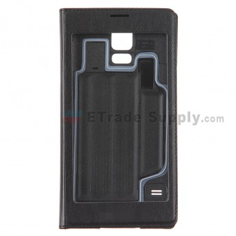 For Samsung Galaxy S5 Series S View Flip Leather Case Replacement (Full Window) - Black - Grade R